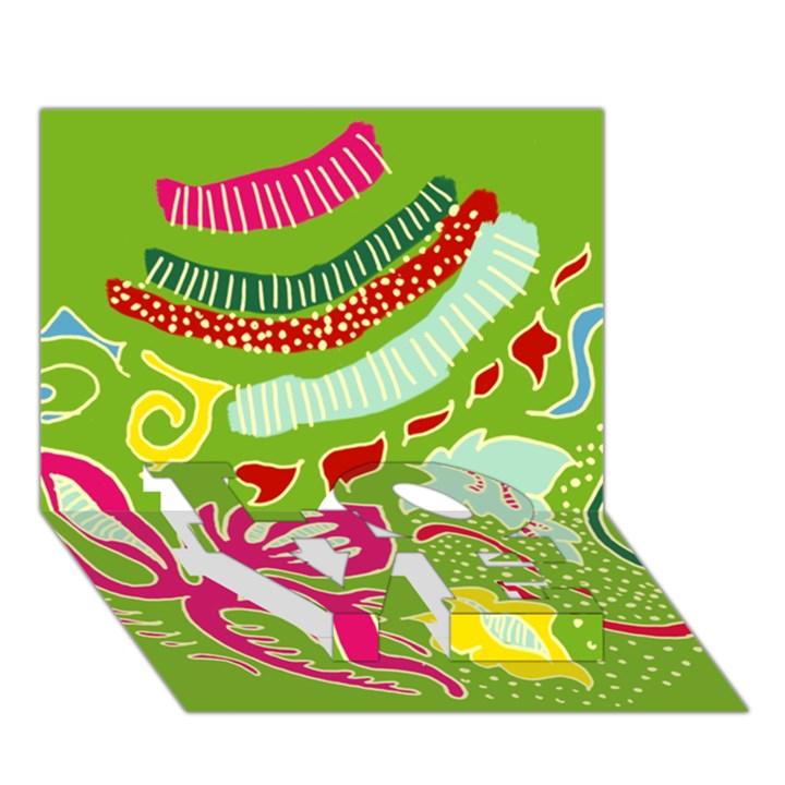 Green Organic Abstract LOVE Bottom 3D Greeting Card (7x5)