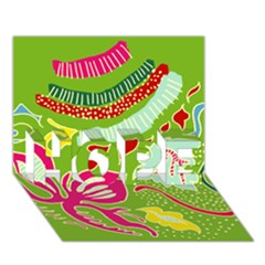 Green Organic Abstract Hope 3d Greeting Card (7x5) by DanaeStudio
