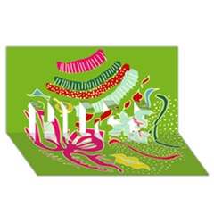 Green Organic Abstract Hugs 3d Greeting Card (8x4) by DanaeStudio