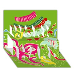 Green Organic Abstract WORK HARD 3D Greeting Card (7x5)