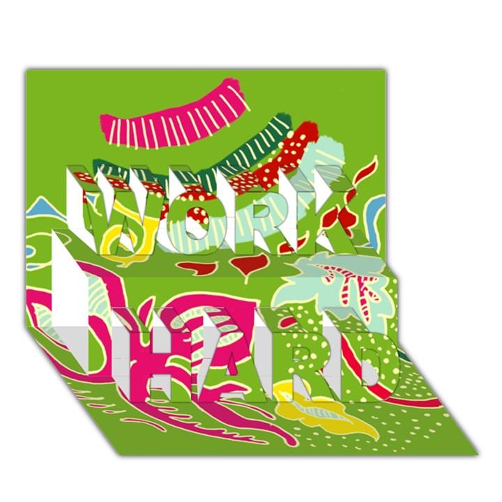 Green Organic Abstract WORK HARD 3D Greeting Card (7x5)