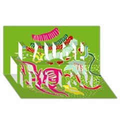 Green Organic Abstract Laugh Live Love 3d Greeting Card (8x4) by DanaeStudio