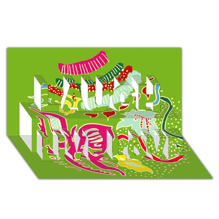 Green Organic Abstract Laugh Live Love 3D Greeting Card (8x4)