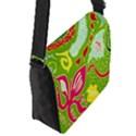Green Organic Abstract Flap Messenger Bag (S) View2