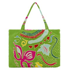 Green Organic Abstract Medium Zipper Tote Bag