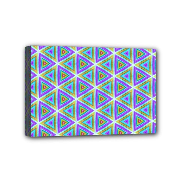 Colorful Retro Geometric Pattern Mini Canvas 6  x 4