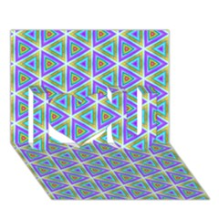 Colorful Retro Geometric Pattern I Love You 3d Greeting Card (7x5) by DanaeStudio