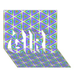Colorful Retro Geometric Pattern Girl 3d Greeting Card (7x5) by DanaeStudio