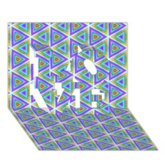 Colorful Retro Geometric Pattern Love 3d Greeting Card (7x5) by DanaeStudio