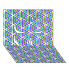Colorful Retro Geometric Pattern Clover 3d Greeting Card (7x5) by DanaeStudio