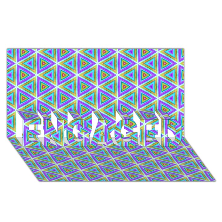 Colorful Retro Geometric Pattern ENGAGED 3D Greeting Card (8x4)