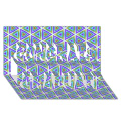 Colorful Retro Geometric Pattern Congrats Graduate 3d Greeting Card (8x4) by DanaeStudio