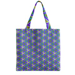 Colorful Retro Geometric Pattern Grocery Tote Bag by DanaeStudio