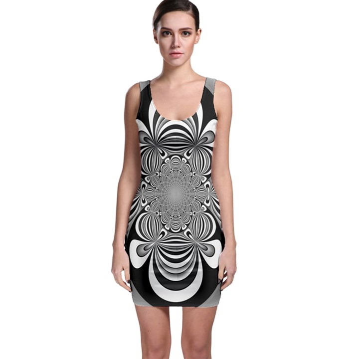 Black And White Ornamental Flower Sleeveless Bodycon Dress