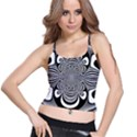 Black And White Ornamental Flower Spaghetti Strap Bra Top View1
