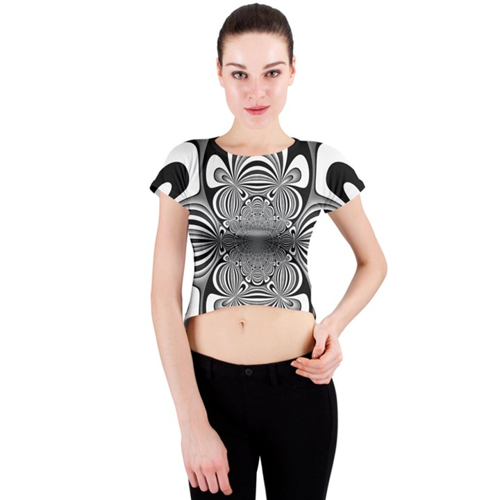 Black And White Ornamental Flower Crew Neck Crop Top