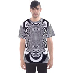 Black And White Ornamental Flower Men s Sport Mesh Tee by designworld65