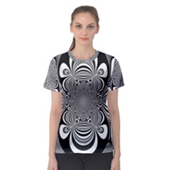 Black And White Ornamental Flower Women s Sport Mesh Tee by designworld65
