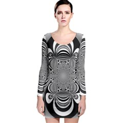 Black And White Ornamental Flower Long Sleeve Bodycon Dress by designworld65