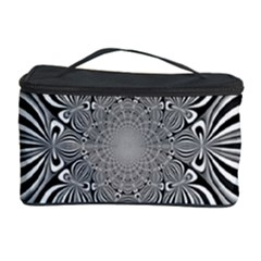 Black And White Ornamental Flower Cosmetic Storage Case by designworld65