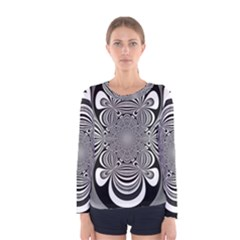 Black And White Ornamental Flower Women s Long Sleeve Tee by designworld65