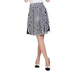 Black And White Ornamental Flower A Line Skirt by designworld65