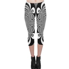 Black And White Ornamental Flower Capri Leggings  by designworld65