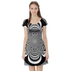 Black And White Ornamental Flower Short Sleeve Skater Dress by designworld65