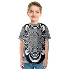 Black And White Ornamental Flower Kids  Sport Mesh Tee by designworld65