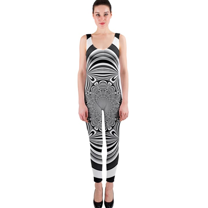 Black And White Ornamental Flower OnePiece Catsuit