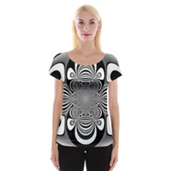 Black And White Ornamental Flower Women s Cap Sleeve Top