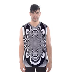Black And White Ornamental Flower Men s Basketball Tank Top by designworld65