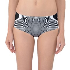 Black And White Ornamental Flower Mid Waist Bikini Bottoms