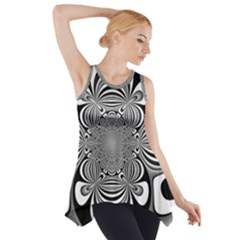 Black And White Ornamental Flower Side Drop Tank Tunic