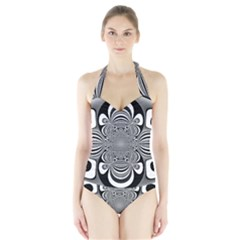 Black And White Ornamental Flower Halter Swimsuit by designworld65