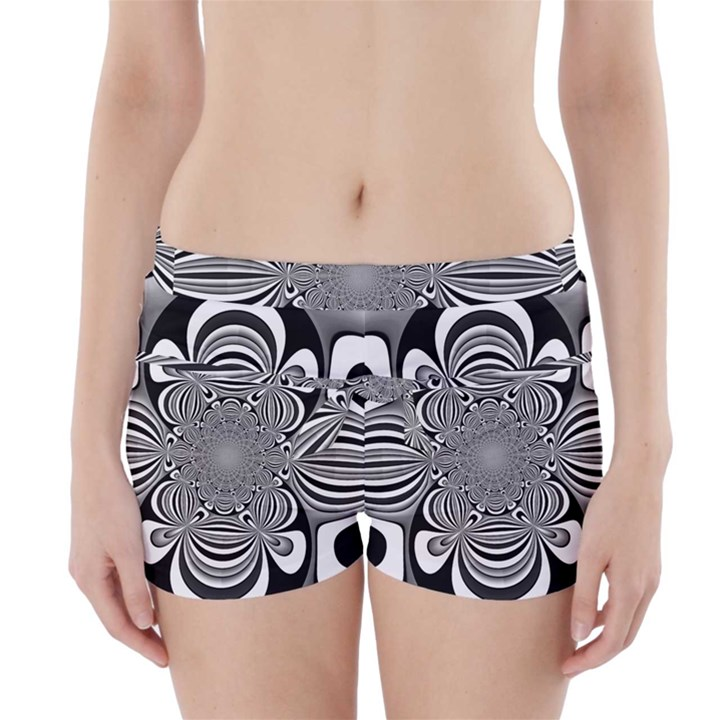 Black And White Ornamental Flower Boyleg Bikini Wrap Bottoms