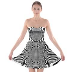 Black And White Ornamental Flower Strapless Bra Top Dress