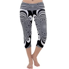 Black And White Ornamental Flower Capri Yoga Leggings by designworld65
