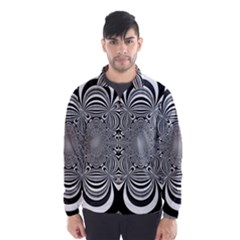 Black And White Ornamental Flower Wind Breaker (men)
