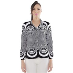 Black And White Ornamental Flower Wind Breaker (women) by designworld65