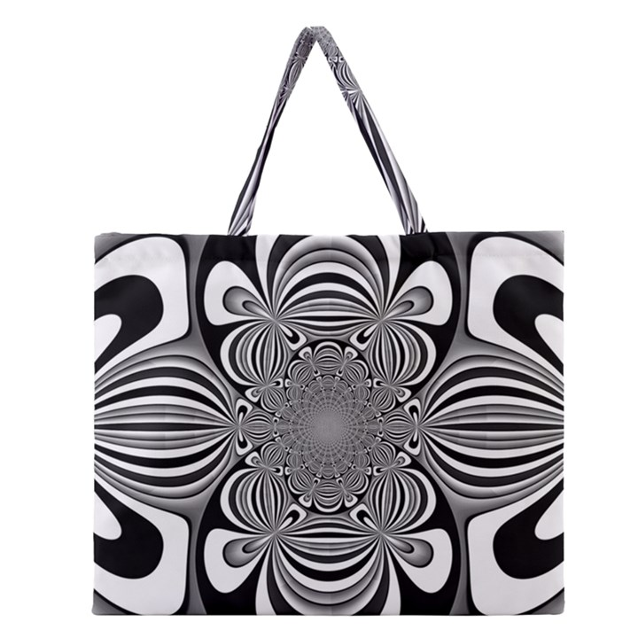 Black And White Ornamental Flower Zipper Large Tote Bag