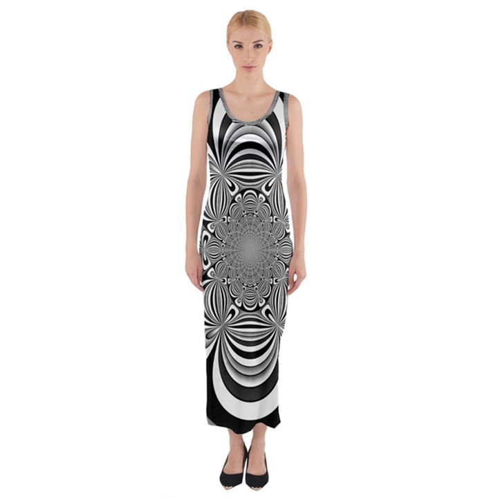Black And White Ornamental Flower Fitted Maxi Dress
