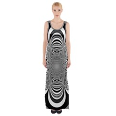 Black And White Ornamental Flower Maxi Thigh Split Dress by designworld65