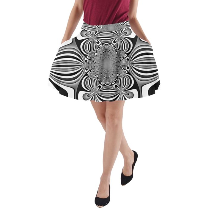 Black And White Ornamental Flower A-Line Pocket Skirt