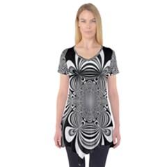 Black And White Ornamental Flower Short Sleeve Tunic  by designworld65