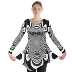 Black And White Ornamental Flower Long Sleeve Tunic