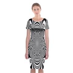 Black And White Ornamental Flower Classic Short Sleeve Midi Dress