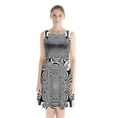 Black And White Ornamental Flower Sleeveless Chiffon Waist Tie Dress by designworld65