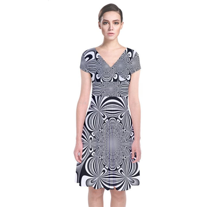 Black And White Ornamental Flower Short Sleeve Front Wrap Dress