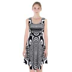 Black And White Ornamental Flower Racerback Midi Dress by designworld65